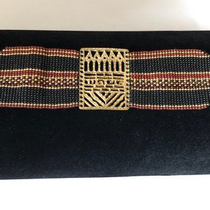 Gold Plated Seed Beaded Aztec Choker Necklace
